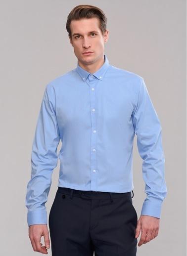 People By Fabrika Likralı & Düğmeli Yaka Gömlek Mavi